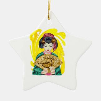 Fallen in Liebe mit dem Geisha-Mädchen Keramik Ornament