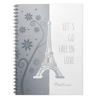 Fallen Sie in einzigartigen Eiffel Turm Liebe Spiral Notizblock
