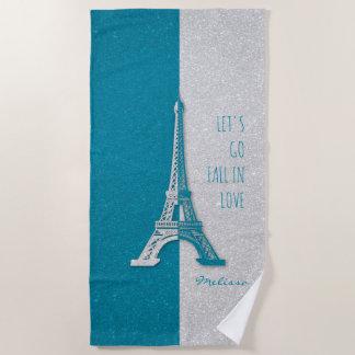 Fallen Sie in romantischen Eiffel Turm Liebe Paris Strandtuch