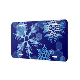 Fallende blaue Schneeflocken US Nummernschild