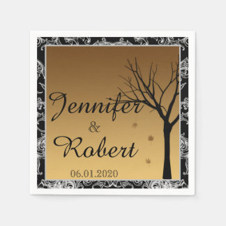 Fallendes Blätter auf Damast-Hochzeits-Serviette Papierserviette