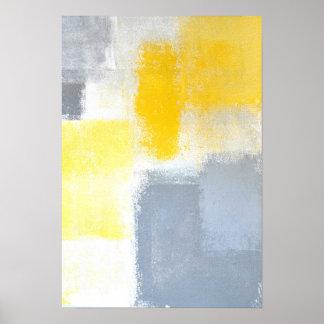 """""""Fallengelassene"""" graue und gelbe abstrakte Kunst Poster"""
