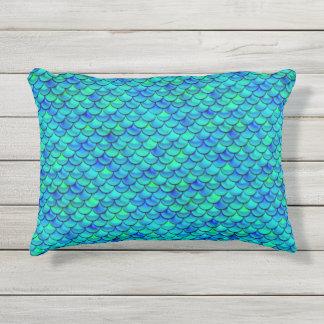 Falln Aqua-Blau-Skalen Kissen Für Draußen
