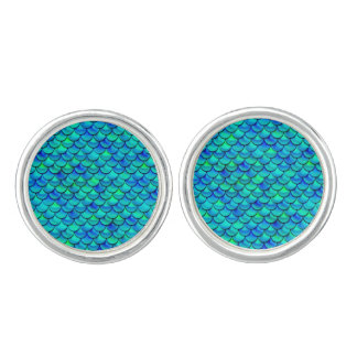 Falln Aqua-Blau-Skalen Manschettenknöpfe