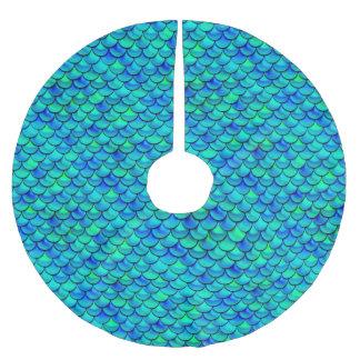 Falln Aqua-Blau-Skalen Polyester Weihnachtsbaumdecke