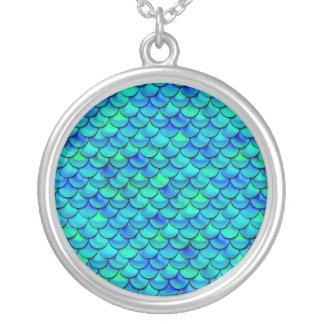 Falln Aqua-Blau-Skalen Versilberte Kette