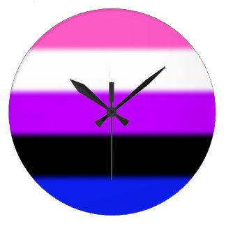 Falln Genderfluid Stolz-Flagge Große Wanduhr