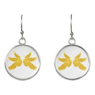 Falln goldene Erzengel-Flügel Ohrringe