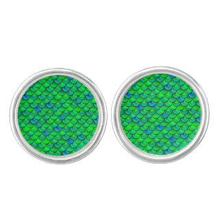 Falln grün-blaue Skalen Manschetten Knöpfe