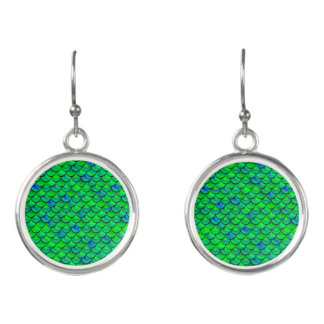 Falln grün-blaue Skalen Ohrringe