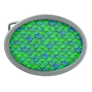 Falln grün-blaue Skalen Ovale Gürtelschnalle