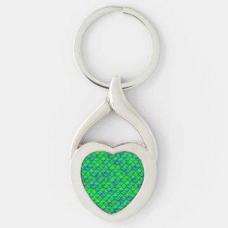 Falln grün-blaue Skalen Schlüsselanhänger