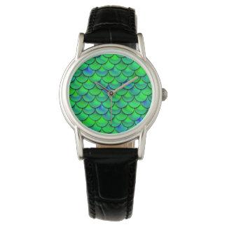Falln grün-blaue Skalen Uhr