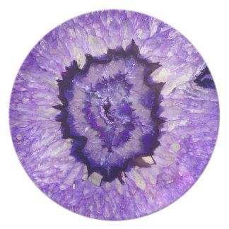 Falln lila Achat Geode Melaminteller
