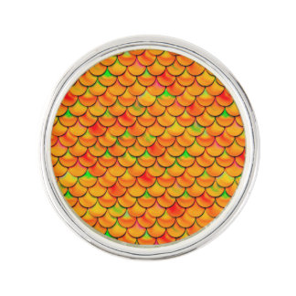 Falln orange und grüne Skalen Anstecknadel