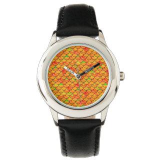 Falln orange und grüne Skalen Armbanduhr