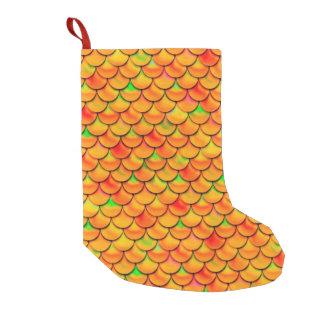 Falln orange und grüne Skalen Kleiner Weihnachtsstrumpf