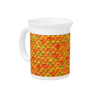Falln orange und grüne Skalen Krug
