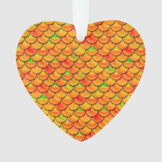 Falln orange und grüne Skalen Ornament