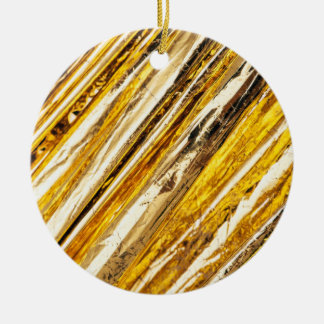 Falln schimmernde Goldfolie Rundes Keramik Ornament