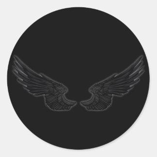 Falln schwarze Engels-Flügel Runder Aufkleber