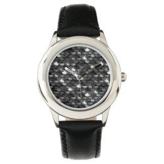 Falln Schwarzweiss-Skalen Armbanduhr