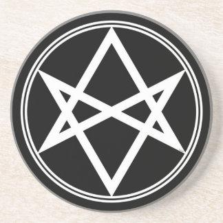 Falln Unicursal Hexagram-Weiß Getränkeuntersetzer