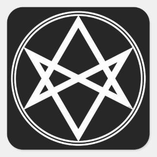 Falln Unicursal Hexagram-Weiß Quadratischer Aufkleber