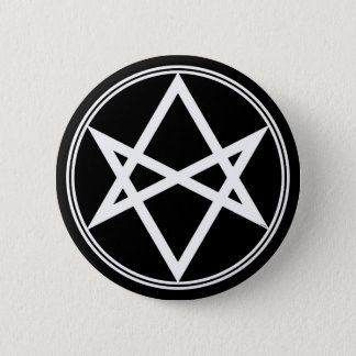 Falln Unicursal Hexagram-Weiß Runder Button 5,1 Cm