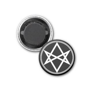 Falln Unicursal Hexagram-Weiß Runder Magnet 3,2 Cm