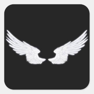 Falln weiße Engels-Flügel Quadratischer Aufkleber