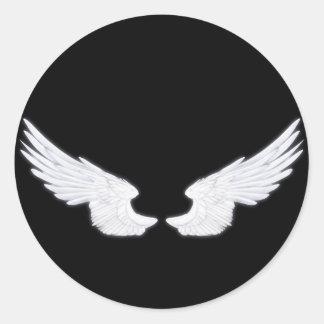 Falln weiße Engels-Flügel Runder Aufkleber