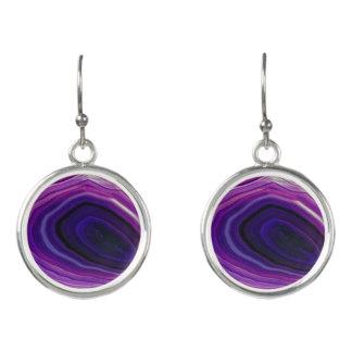 Falln wirbelte lila Geode Ohrringe