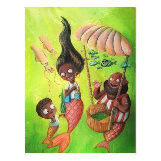 Familie der Meerjungfrauen Postkarte