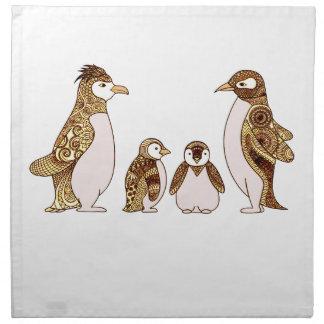Familie der Pinguine Stoffserviette