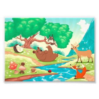 Familie der Tiere im Holz Photodrucke