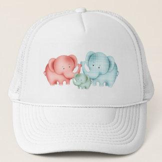 Familie des Elefant-Mamma-Vatis und des Babys Truckerkappe