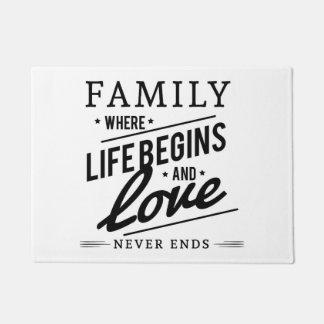 Familie, in der das Leben anfängt und Liebe-nie Türmatte