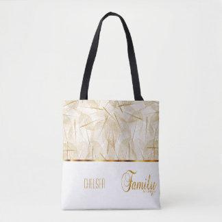 Familie ist für immer im Gold und im Weiß Tasche