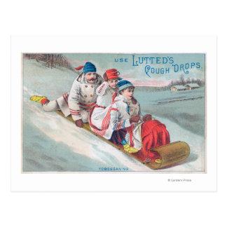 Familie Tobogganing und Anwendung von Lutted Postkarte