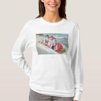 Familie Tobogganing und Anwendung von Lutted T-Shirt