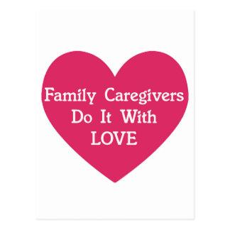 FamilieCaregivers tun es mit Liebe Postkarte