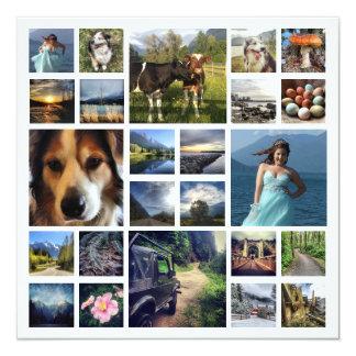 Familien-Buchstabe mit 24 Fotos während des Jahres Quadratische 13,3 Cm Einladungskarte
