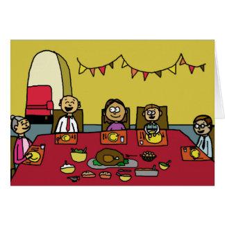 Familien-Erntedank-Abendessen-glückliche Karte