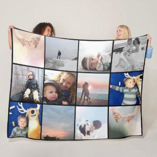 Familien-Foto-Collage 12 quadratische Instagram Fleecedecke