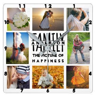 Familien-Foto-Collage addieren Namensbild 8 der Quadratische Wanduhr