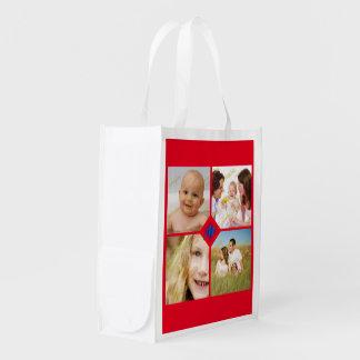Familien-Foto-Collage fertigen Monogramm jede Wiederverwendbare Tragetaschen