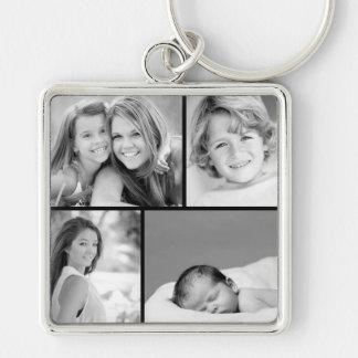 Familien-Foto-Collage Silberfarbener Quadratischer Schlüsselanhänger