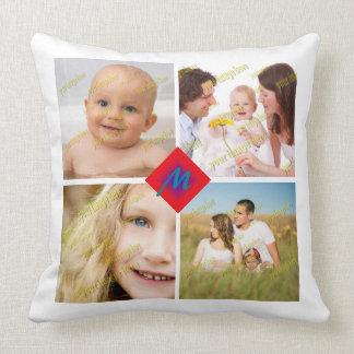 Familien-Foto-Collagen-Farbe Stripes Monogramm Kissen