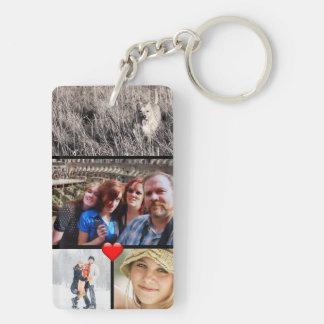 Familien-Foto-Collagen-Herz Schlüsselanhänger